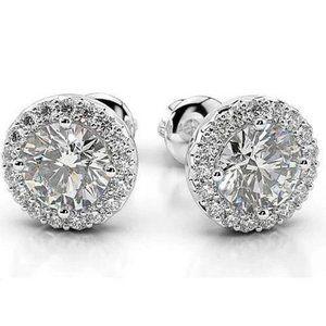 Prong Round Diamond Stud Earring White Gold 14K 1.